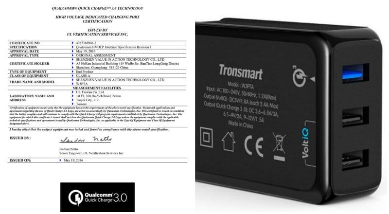 certificado oficial carga rapida quick charge