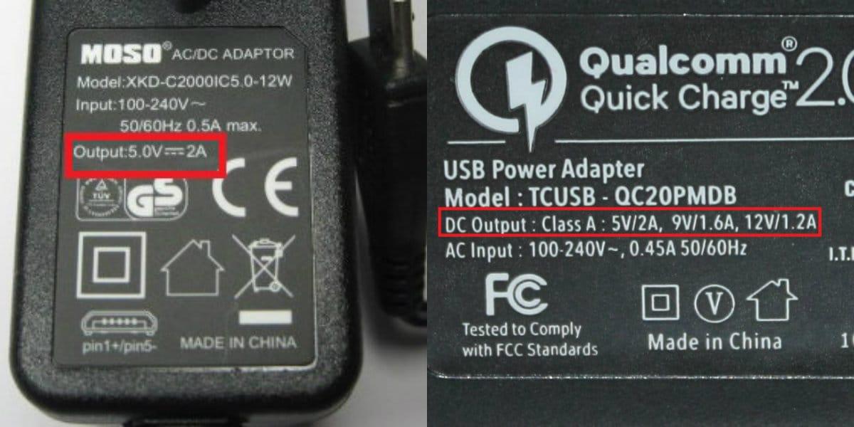 voltaje carga rapida quick charge 2-0