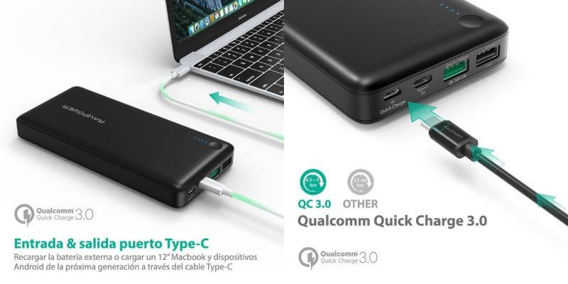 mejores baterías externas carga rapida ravpower quick charge 20100 mah