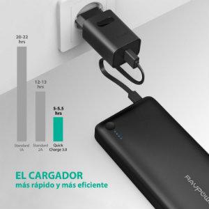mejores baterías externas carga rapida ravpower cargador y bateria externa
