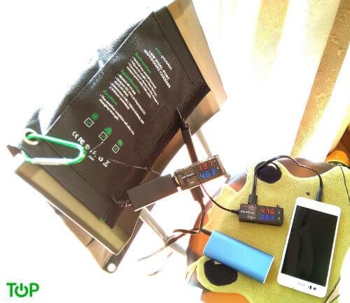 carga simultanea cargador solar ravpower 16W