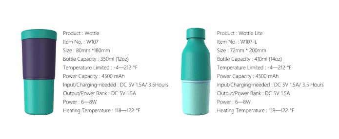 Wottle especificaciones modelos